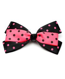 Ribbon Candy Polka Dot Alligator Clip - Pink & Black