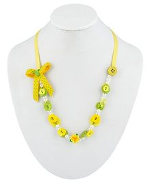 Ribbon Candy Button Necklace - Yellow & Green