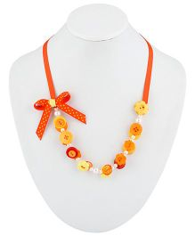 Ribbon Candy Button Necklace - Orange & Yellow