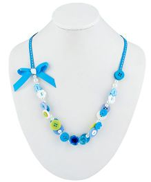 Ribbon Candy Button Necklace - Blue