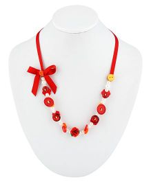 Ribbon Candy Button Necklace - Red