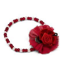 Ribbon Candy Fabric Flower Bracelet - Maroon