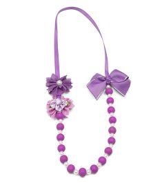 Ribbon Candy Flower Necklace - Purple