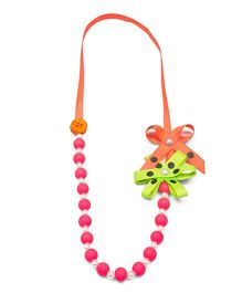 Ribbon Candy Beads Necklace - Neon Pink