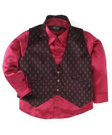 Robo Fry Full Sleeves Shirt And Waist Coat Set - Maroon