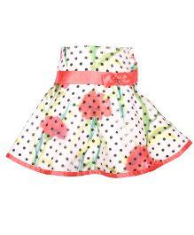 Cutecumber Party Wear A-Line Skirt Bow Applique - White Peach