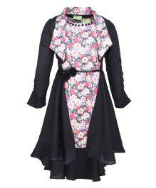 Cutecumber Sleeveless Dress With Shrug Floral Print - Pink And Black