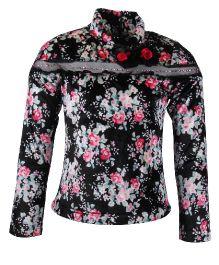 Cutecumber Full Sleeves Floral Top - Black