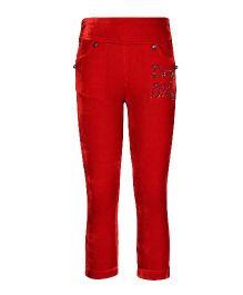 Cutecumber Full Length Leggings Embellished Detail - Red