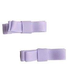 NeedyBee Double Deck Bow Hair Clip For Infant Baby Girls - Purple