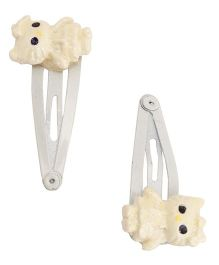 NeedyBee Snap Hair Clip With Doll Bow - Off White