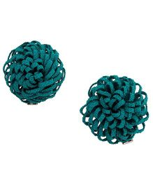 NeedyBee Flower Bow Aligator Hair Clips For Baby Girls - Green