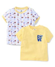 Ohms Half Sleeves T-Shirt Love & Multi Print Pack of 2 - Off White & Yellow