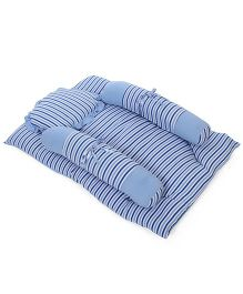 Ohms Stripe Bedding Set With Bolster And Pillow - Blue