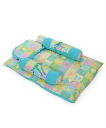 Ohms Bedding Set With Bolster And Pillow Multiprint - Light Blue Green