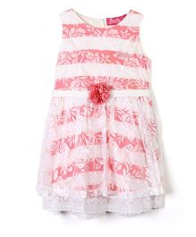 Barbie Sleeveless Frock Stripes And Floral Print - White And Pink