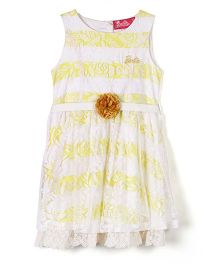 Barbie Sleeveless Frock Stripes And Floral Print - White And Yellow