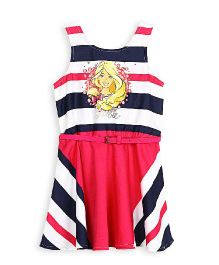 Barbie Sleeveless Frock With Nautical Stripes And Belt - Pink Blue