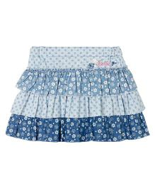 Barbie Denim Layered Skirt Floral And Dots Print - Blue