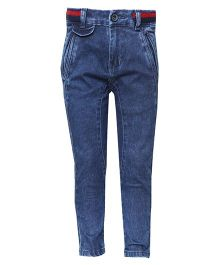Tales & Stories Full Length Washed Denim Trousers - Dark Blue