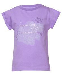 Tales & Stories Magyar Sleeves Floral And Caption Print T-Shirt - Purple