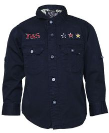 Tales & Stories Full Sleeves Denim Shirt Embroidered Stars - Navy Blue