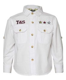 Tales & Stories Full Sleeves Denim Shirt Embroidered Stars - White
