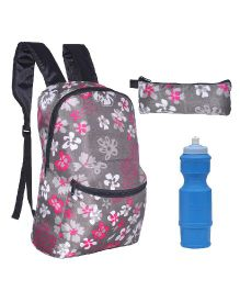 Avon F Backpack Combo Floral Print Grey Pink - 15 Inches