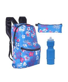 Avon F Backpack Combo Floral Print Blue Pink - 15 Inches