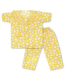 KID1 Floral Dreams Night Suit - Yellow