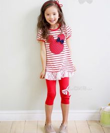 Tickles 4 U Capri & Tee Set - Red