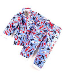 Cherry Crumble California Night Suit For Girls - Blue
