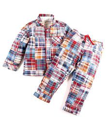 Cherry Crumble California Madras Print Shirt N Pyjama Set - Blue