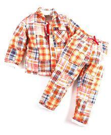 Cherry Crumble California Madras Print Shirt N Pyjama Set - Orange