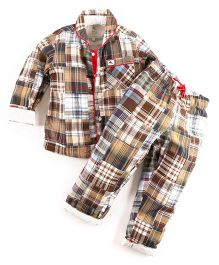 Cherry Crumble California Madras Print Shirt N Pyjama Set - Brown