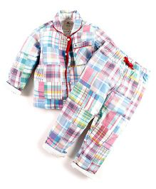 Cherry Crumble California Patchwork Shirt Top & Pyjama For Girls - Pink