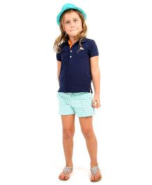 Cherry Crumble California Printed Shorts For Girls - Green & White