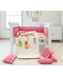 Fancy Fluff 6 Piece Premium Baby Cot Set Bird Design - Pink