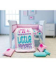 Fancy Fluff 6 Piece Premium Baby Cot Set Princess Design - Pink