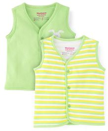 Morisons Baby Dreams Striped And Solid Color Vest - Green & Multicolor