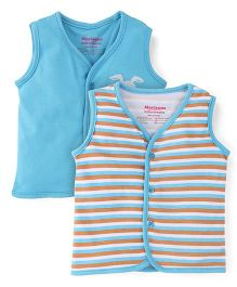 Morisons Baby Dreams Striped And Solid Color Vest - Blue & Multicolor