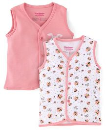 Morisons Baby Dreams Sleeveless Vest Pack Of 2 - Pink And White