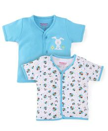 Morisons Baby Dreams Half Sleeves Vest Pack Of 2 - Blue And White