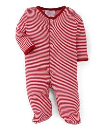 Morisons Baby Dreams Full Sleeves Striped Footed Romper - Red