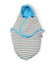 Morisons Baby Dreams Hooded Stripe Swaddle Wrapper - Sky Blue