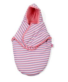 Morisons Baby Dreams Hooded Stripe Swaddle Wrapper - Pink
