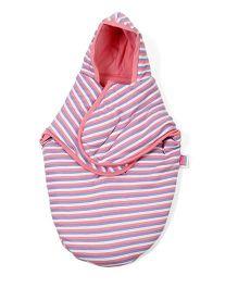 Morisons Baby Dreams Hooded Stripe Swaddle Wrapper - Pink