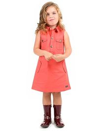 Cherry Crumble California Sleeveless Party Dress  - Carrot Red