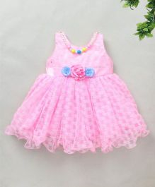 M'Princess 3D Flower Applique Sleeveless Partywear Dress - Pink