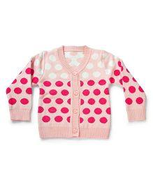 LOL Full Sleeves Polka Dot Sweater - Pink